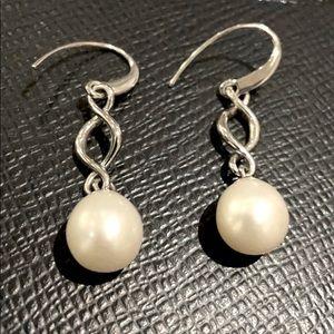Maison BIRKS Sterling Silver Drop Pearl Earrings